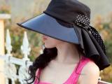 韩版女骑车护颈防晒太阳帽 pvc防紫外线大沿遮阳帽子透明偏光帽