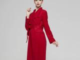 欧美大牌明星同款女士大衣风衣纯羊毛女装酒红长外套修身蝴蝶腰带