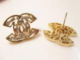 欧美外贸饰品 小双C 闪钻水晶耳钉 独特百搭镂空耳饰 两色