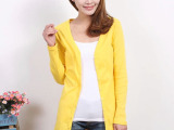 韩版女装 中长款纯棉糖果色长袖外套 艾格开衫