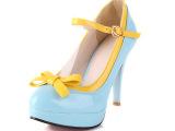 2014时尚新款时装女鞋单鞋 时尚百搭气质OL晚装搭扣糖果色女鞋