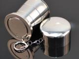 户外折叠杯 小号不锈钢折叠伸缩杯 折叠杯子 三节杯 多功能酒杯