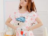 夏季新款女士短袖针织棉睡衣套装 可爱卡通短袖两件套女式家居服