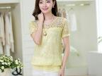 2014夏季新款 韩版女装灯笼泡泡袖宽松收腰显瘦拼接蕾丝上衣