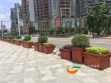 市政园林道路隔断木花箱,城市公园室外钢木花池箱