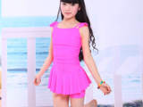 伯登迪奥2014韩版公主裙式儿童连体泳衣学生游泳衣中大女童泳装