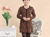 特价2014中老年女装 羊毛连衣裙新款 印花裙 长袖裙装秋季服装