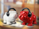 直销简约时尚家居软装带耳机的狗 萌犬装饰