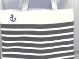 新款简单海军风帆布包 环保单肩手提购物袋 时尚帆布包袋 热卖中