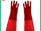 专业供应加长款静电植绒乳胶手套 加厚保暖乳胶手套 可定做