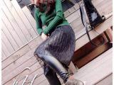 韩国蕾丝半裙PU皮裤打底裤假两件套显瘦 2014秋冬新款加厚打底