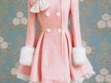 粉红毛呢蝴蝶结修身双排扣羊毛呢风衣外套