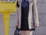 2014秋季新款 专柜正品连帽羊绒大衣 学院风 韩版毛呢子厚外套