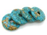 【**款】天然绿松石平安扣 DIY民族风饰品配件 无优化蓝松石