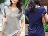 夏装新款韩版上衣大码女装宽松中长款雪纺衫夏短袖针织衫T恤2145