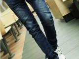 2013新款个性钮扣深色小脚牛仔裤 男韩版修身小脚牛仔裤铅笔裤潮