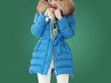 2013外套 女冬装韩版棉服女中长款棉衣貉子毛领一件代发8008