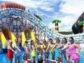 水上游乐设备充气水滑梯城堡 支架游泳池鲸鱼岛乐园 水上冲关