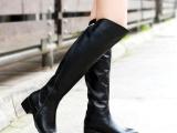 潮2013秋冬新款黑色女靴子休闲中跟高筒
