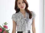 女装上衣韩版修身蕾丝衫短袖V领夏款蕾丝打底衫【送吊带】