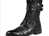 厂家代发2014新款时尚男靴批发 马丁靴牛皮工装军靴 男士皮靴批