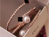韩版 厂家直销 小额批发 四叶草开口手镯 珍珠开口手镯 时尚饰品