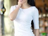 2015女装t恤夏季新款时尚潮人韩版宽松五分袖一字领中袖t恤上衣
