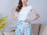 2015夏季新款蕾丝短袖上衣印花网纱短裙韩版休闲套装两件套女