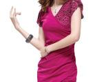 厂家直销 2013新款短袖V领蕾丝连衣裙防晒打底裙性感修身包臀裙