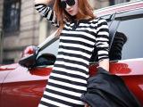 一件起批DQQ女 韩版连衣裙休闲打底衫黑白条纹包臀打底裙子