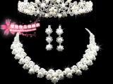 新娘饰品三件套珍珠水钻项链时尚流行项链水钻三件套新娘饰品批发