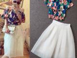1~新款欧美花朵雪纺上衣+高腰大摆蓬蓬半身裙套装