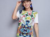 2015夏季新款欧美高端精品全网独家女装满底印花短袖T恤代理加盟