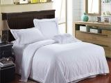60支五星级酒店床上用品全棉四件套批发 客房布草床品白色套件