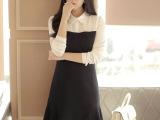新款女装秋季连衣裙长袖中长款娃娃领连衣裙秋冬打底裙大码潮