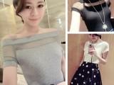 厂家直销 2014 女装新款韩国性感显瘦一字领露肩针织网纱拼接T