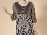 秋冬装长袖羊毛衫 女士毛衣 长款羊绒衫冬季时尚高档皮草连衣裙