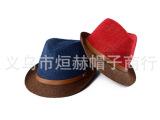 夏季新款韩版皮扣双色草编礼帽爵士帽男 情侣防晒遮阳爵士帽子
