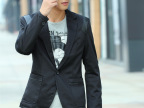 韩版男装2013休闲小西装潮流修身针织修身镶皮小西服男一件代发