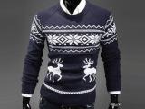 2014秋冬男装新款男式圆领小鹿毛衣圣诞必备毛衣 套头毛衣