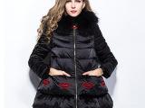 欧洲站冬款女装貉子毛毛领保暖连帽羽绒服大码绣嘴唇双层下摆外套