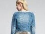 2014新款秋欧时力长袖牛仔外套女短外套女装圆领蕾丝韩版牛仔上衣