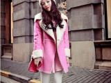 2014新款韩国粉嫩少女机车翻领加厚复合麂皮绒中长款大衣外套 K