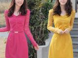 2014春季修身大码显瘦韩版气质OL泡泡袖蕾丝V领 职业长袖连衣