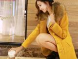 2014秋冬新款大码女装 羊毛呢外套 修身中长款呢子大衣女290
