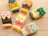 2014冬款儿童手套加厚双层毛线小兔手套露指半截手套批发厂家直销