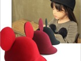 儿童羊毛呢帽新款米老鼠大耳朵小礼帽子 韩版亲子帽跑男同款礼帽