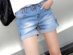 最新款破洞水洗牛仔短裤女 夏季韩国全棉牛仔 修身磨白中腰牛仔裤