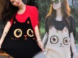 胖mm夏装新款韩版女装批发可爱撞色蝙蝠衫宽松大码少女T恤衫短袖