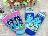 迪士尼精梳棉怪物大学女袜全棉怪兽公司短袜纯棉女卡通短袜短筒袜